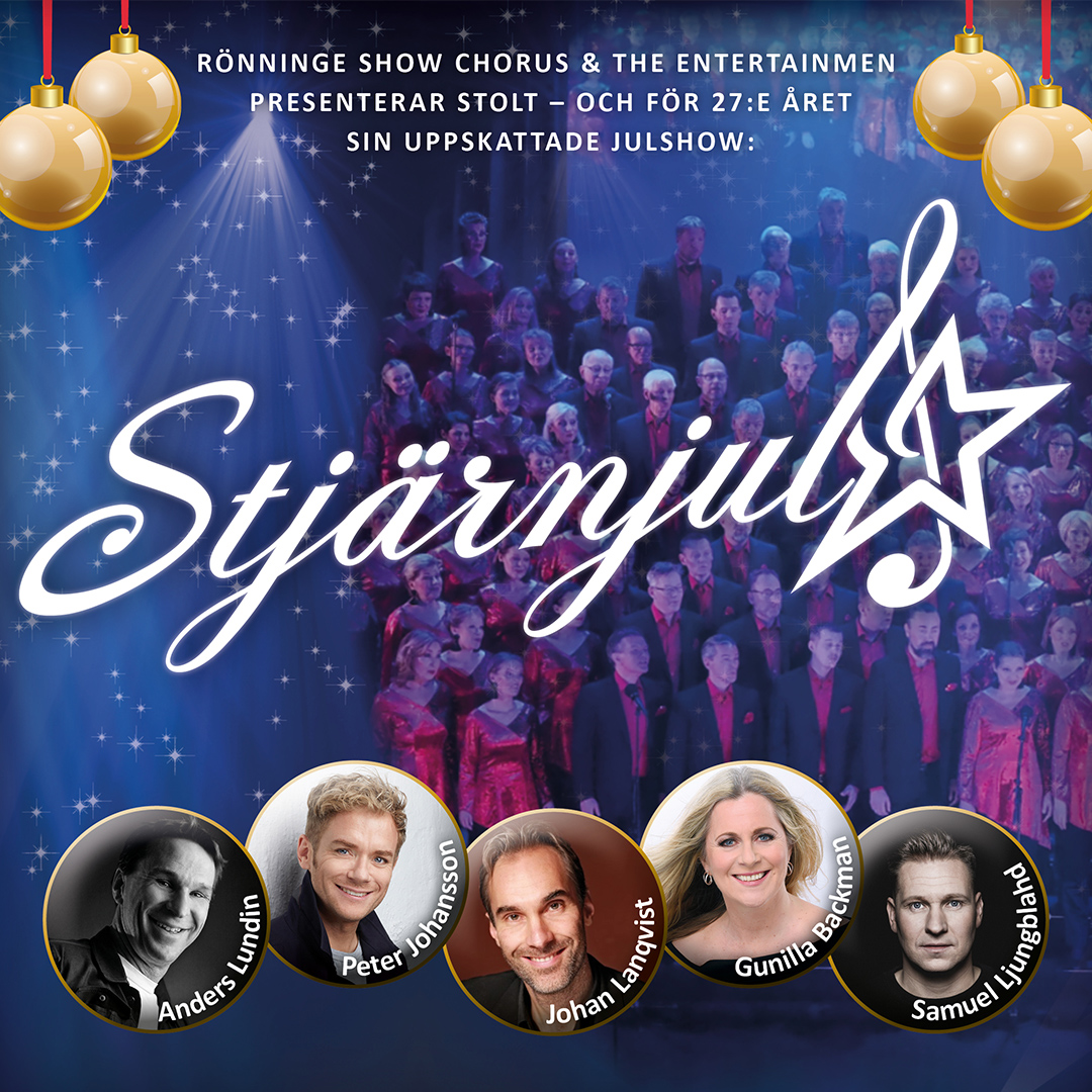 Stjärnjul XXVII är en storslagen och härligt omväxlande julshow, presenterad av de internationellt prisade körerna Rönninge Show Chorus och The EntertainMen.